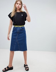 Cheap Monday Mid Length Denim Skirt With Logo Tape Abstract Blue