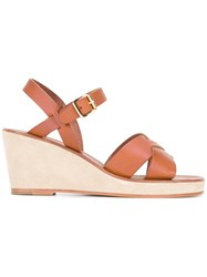 A.P.C. Classic Wedge Sandals Brown