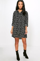 Boohoo Spot Woven Shirt Dress Black