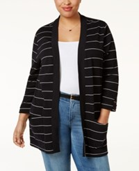Karen Scott Plus Size Striped Open Front Cardigan Only At Macy's Deep Black