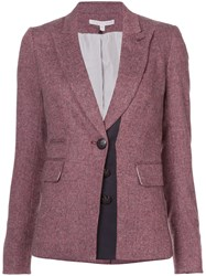 Veronica Beard Tweed Blazer Silk Acrylic Polyester Wool Red