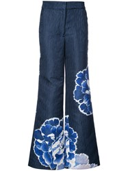 Josie Natori Wide Leg Trousers Blue