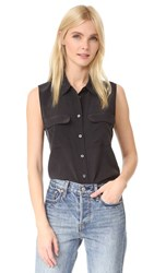 Equipment Sleeveless Slim Signature Blouse Black