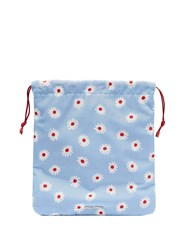 Miu Miu Daisy Print Drawstring Nylon Make Up Bag Blue Multi