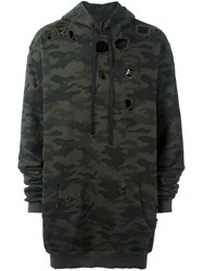 Unravel Camouflage Destroyed Hoodie Green