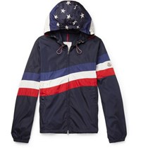 Moncler Printed Shell Hooded Jacket Navy