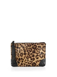 Rag And Bone Leopard Print Calf Hair Wristlet