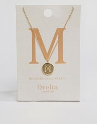 Orelia Gold Plated Necklace With Initial M Gold