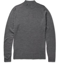 John Smedley Medley Funnel Neck New Wool Weater Charcoal