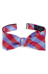 Ted Baker Men's London Derby Check Silk Bow Tie Red