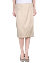 Clips Knee Length Skirts Beige