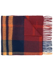 Mulberry Check Fringed Scarf Red