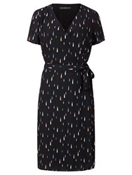 Sugarhill Boutique Aura Raindrop Wrap Dress Navy