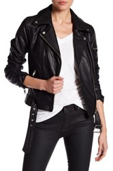 7 For All Mankind Leather Asymmetricla Moto Jacket Black