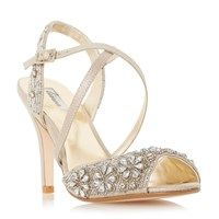 Linea Molana Embellished Cross Strap High Heel Sandals Gold