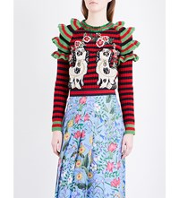 Gucci Ruffled Dog Applique Knitted Jumper Red Black Green