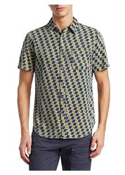 Madison Supply Short Sleeve Checkered Cotton Button Down Shirt Yellow Navy