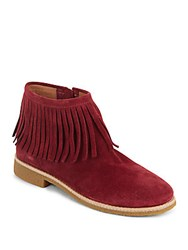 Kate Spade Betsie Fringe Suede Ankle Boots Oxblood