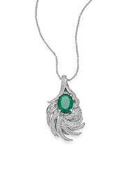 Effy Final Call Diamond Emerald And 14K White Gold Pendant Necklace