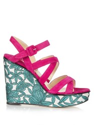 Paul Andrew Lotus Suede Wedge Sandals Pink Multi
