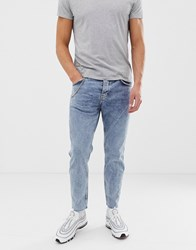 Bershka Slim Fit Jeans In Light Blue With Chain Light Blue