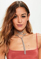 Missguided Camel Lace Up Chain Detail Choker Necklace Tan