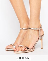 Faith Dolly Rose Gold Heeled Sandals Rose Gold