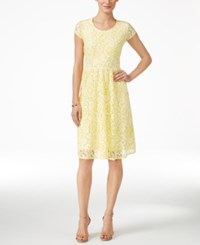 Ny Collection Lace A Line Dress Yellow