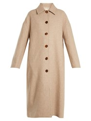 Khaite Carolina Single Breasted Wool Twill Cocoon Coat Beige
