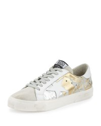 Golden Goose May Star Low Top Sneaker White Crackled Gold Taupe