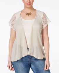 Styleandco. Style Co. Plus Size Crochet Trim Open Front Cardigan Only At Macy's Natural