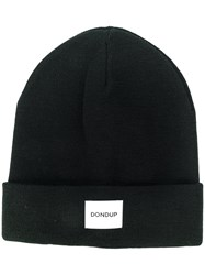 Dondup Logo Patch Knitted Beanie Men Wool Acrylic One Size Black