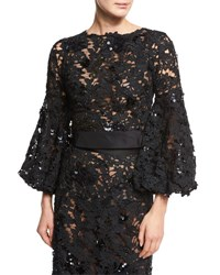 Johanna Ortiz Porto Lace Bishop Sleeve Blouse Black