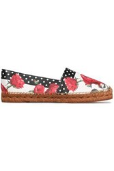 Dolce And Gabbana Printed Leather Espadrilles White