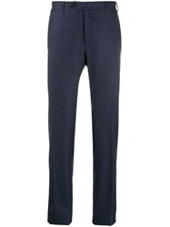 Canali Slim Fit Wool Trousers Blue