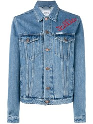 Forte Couture Embroidered Denim Jacket Women Cotton 40 Blue