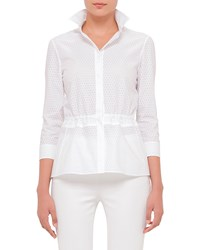 Akris Punto 3 4 Sleeve Perforated Blouse White