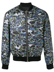 Les Hommes Printed Bomber Jacket Green
