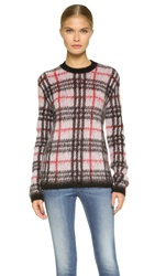 Versus Long Sleeve Plaid Sweater White Black Red