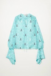 Lanvin Printed Silk Twill Blouse Turquoise