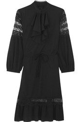 Anna Sui Ruffled Lace Trimmed Crepe De Chine Mini Dress Black