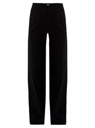 Christophe Lemaire High Rise Wide Leg Cotton Corduroy Trousers Navy