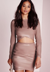 Missguided Faux Leather Asymmetric Mini Skirt Mauve Pink