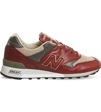 New Balance M577 Leather Trainers Burgundy Taupe Miuk