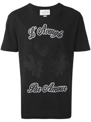 Gucci T Shirt With Embroidery Men Cotton M Black
