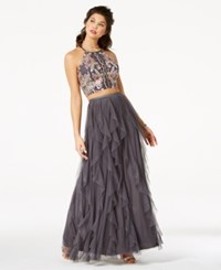 Teeze Me Juniors' Embellished Ruffled 2 Piece Gown A Macy's Exclusive Style Grey Pink