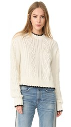 Mcq By Alexander Mcqueen Scallop Cable Sweater Ivory