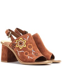 See By Chloe Embroidered Suede Sling Back Sandals Brown