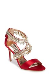 Badgley Mischka Women's Crystal Embellished Sandal Ruby Satin