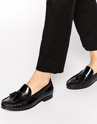 H By Hudson Yale Leather Tassle Loafers Blackleather